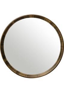 Espelho Manaus Redondo Prata Borda Nogueira 60Cm - 60283 - Sun House