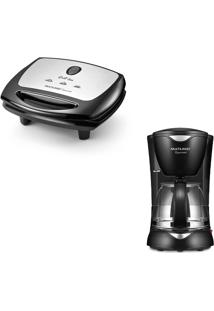 Combo Cozinha - Sanduicheira Super Grill Inox 220V-1200W Antiaderente Preta E Cafeteira Elétrica Gourmet 220V-200W Preta - Ce12K Ce12K