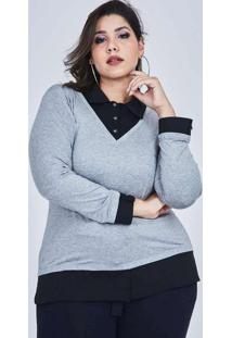 Blusa Almaria Plus Size Lenner Malha Cinza