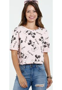 Blusa Feminina Cropped Botonê Estampa Mickey Disney