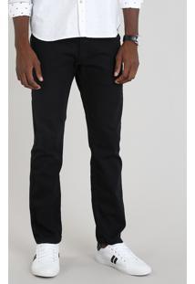 Calça Jeans Masculina Reta Preta