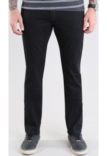 Calça Jeans Masculina Reta Com Bolsos Preta