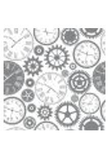 Papel De Parede Relógio E Engrenagens Para Sala Escritório Modelo 1