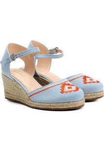 Espadrille Shoestock Anabela Bordada Feminina - Feminino-Azul