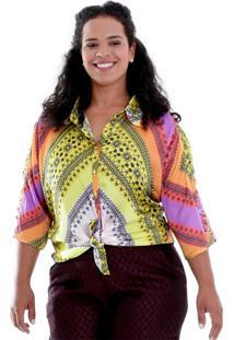 Camisa Rita Plus Size Vickttoria Vick Plus Size Amarelo