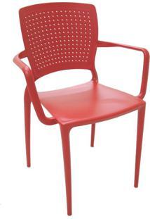 Cadeira Safira Com Braço Vermelho