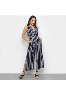 Macacão Lily Fashion Listrado Amarração Fenda Feminino - Feminino-Marinho