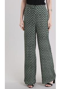 Calça Pantalona Estampada Verde Escuro