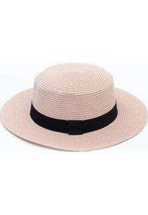 Chapéu De Palha Rosa Com Faixa