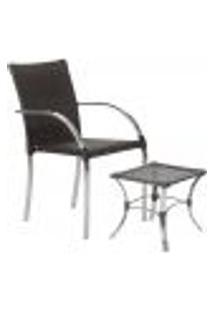Jogo Cadeira 1Un E Mesa De Centro Madri Para Edicula Jardim Area Varanda Descanso - Tabaco