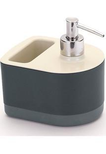 Dispenser Para Detergente Com Porta Esponja Off White E Preto