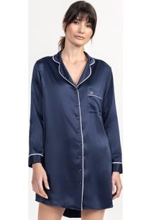 Camisão De Pijama Em Cetim Marinho