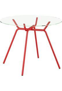 Mesa 1527 Vidro Incolor Com 4 Cadeiras Color 1708 Vermelha Carraro