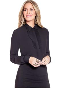 Camisa Social Preta Com Plissados Principessa Lindsey