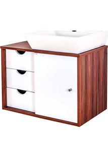 Gabinete Para Banheiro Em Mdf Com Cuba Safira 44X64Cm Branco E Ébano