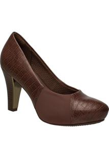 e5a2251ed3 Mundo das Botas. Scarpin Com Salto Marrom Sintético Piccadilly Sapato