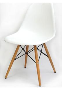 Cadeira Eames Polipropileno Branco Base Madeira -10255 Sun House