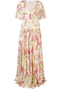Giambattista Valli Vestido Longo Com Estampa Floral - Neutro