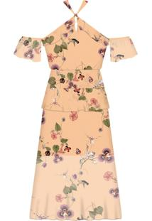 Vestido Mídi Estampado Chiffon Iris - Lez A Lez
