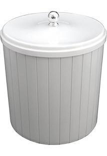 Lixeira 5 L Plástica Com Tampa Branca Plasutil