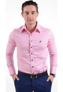Camisa Social Masculina - Super Slim - Masculino-Rosa