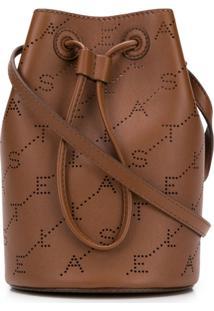 Stella Mccartney Bolsa Saco Mini Com Logo - Marrom