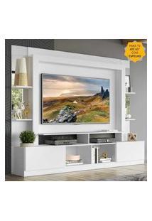 "Rack C/ Painel Tv 65"" Prateleiras C/ Espelho Oslo Multimóveis Branco"