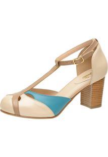Sapato Miuzzi Estilo Boneca Ref: 3188 Perola / Taupe / Piscina