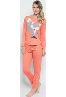 Pijama Raposa- Coral & Cinza- Zulaizulai
