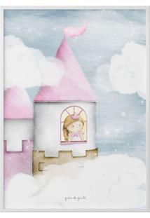 Quadro Amiguinha Princesa Na Torre 40Cm Grão De Gente Rosa