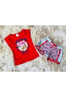 Conjunto Elian Regata E Bermuda Beach Dog Vermelho