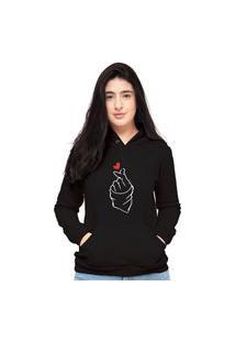 Blusa Moletom Feminino Preto Coração