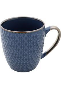 Caneca De Porcelana- Azul Escuro- 10X12X9Cm- 400Rojemac