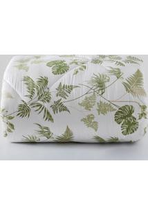 Edredom Tropical Queen Size- Branco & Verde- 240X250Sultan