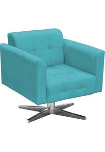 Poltrona Decorativa Base Cromada Giratória Ana Suede Azul Tiffany - Ibiza