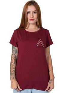 Camiseta Stoned Triple Triangle Feminina - Feminino-Bordô