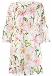 Dolce & Gabbana Vestido Reto Com Estampa - Branco
