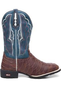 Bota Texana Escamada Floather Azul - Masculino-Marrom