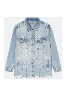 Jaqueta Alongada Jeans Com Aplicações Curve & Plus Size | Ashua Curve E Plus Size | Azul | G
