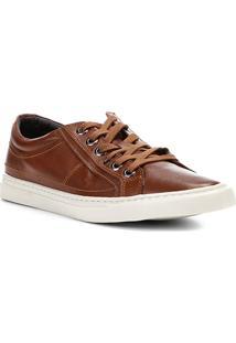 Sapatênis Couro Shoestock Liso Masculino - Masculino-Caramelo