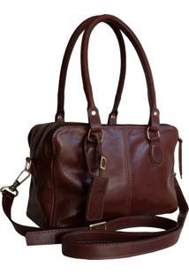 Bolsa Line Store Leather Clássica Bolsos Couro Marrom Avermelhado - Kanui