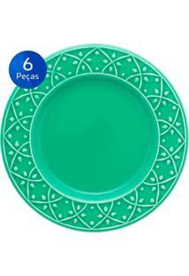Conjunto De Pratos Para Sobremesa 6 Peças Mendi Salvia - Oxford - Verde