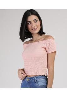 Blusa Feminina Cropped Ombro A Ombro Manga Curta Rosê