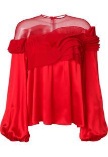 Givenchy Blusa Ampla Com Detalhe Plissado - Vermelho