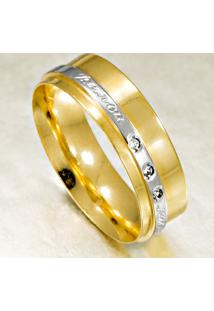 Aliança De Ouro Amarelo E Branco - As0054
