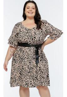Vestido Plus Size Estampa Zebra Com Babados