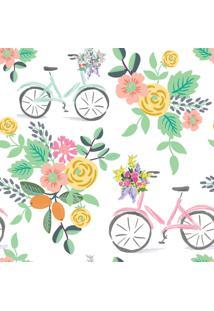 Papel De Parede Flores E Bicicletas Quarto Feminino 57X270Cm - Tricae