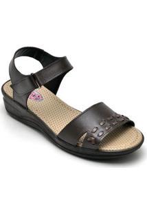 Sandalia Conforto Top Franca Shoes Feminina - Feminino-Café