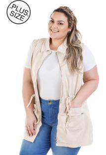 Colete Plus Size - Confidencial Extra Jeans Parka Com Zíper
