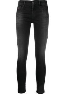 Diesel Calça Jeans Slim Com Efeito Destroyed - Preto